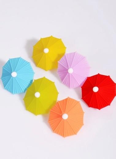 Kitchen World Silikon Şemsiye 6 Renk Bardak İşaretleyici Renkli